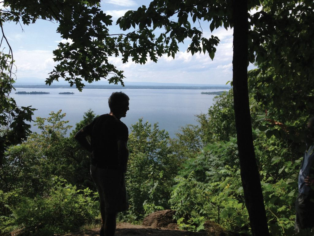 Baird Morgan looking over Lake Champlain from Hoyt Overlook