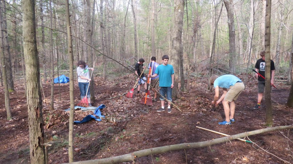 Students make progress on mimicking the effects of fire on the forest floor.