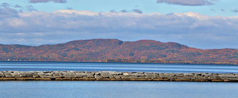 Trembleau Mountain in Fall from Burlington Waterfront
